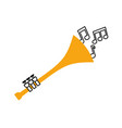 trumpet notes wind musical instrument horn vector image