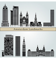 Amsterdam V2 landmarks and monuments vector image vector image