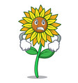 angry sunflower mascot cartoon style vector image vector image