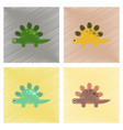 assembly flat shading style icons cartoon dinosaur vector image