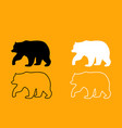 bear black and white set icon vector image