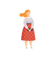 beautiful plus size woman in fashionable clothes vector image vector image