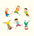 boy mascot in 6 action poses vector image vector image