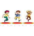 Boys jumping on the trampolines vector image vector image