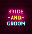 bride and groom neon sign vector image vector image