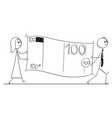 conceptual cartoon of business people carry large vector image