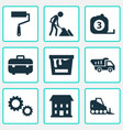 Construction icons set with truck paint bucket