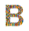 crowd people in form capital letter b flat vector image vector image