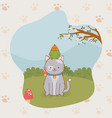 cute little kitty and parrot mascots vector image vector image