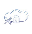 degraded outline cloud data network and padlock vector image