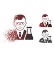 dust dot halftone chemist icon with face vector image vector image