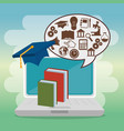 education online set icons vector image