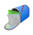envelopes in blue mailbox open red mail box vector image