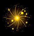 fireworks bursting in glowing yellow flashes on vector image