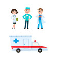 Flat doctor nurse surgeon ambulance car set vector image