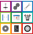 flat icon service set of auto jack spanner belt vector image vector image