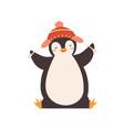 funny bapenguin enjoying winter season vector image vector image