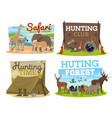 hunting club and safari hunt adventure vector image vector image