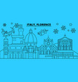 italy florence city winter holidays skyline vector image vector image