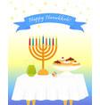 jewish holiday of hanukkah hanukkah menora vector image vector image