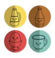 kawaii breakfast food design vector image vector image