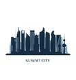 kuwait city skyline monochrome silhouette vector image vector image