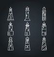 lighthouse icon sketches set on chalkboard in line vector image vector image