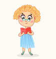 little cartoon girl reading a book vector image vector image