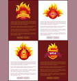 mega sale burning labels with info about discounts vector image