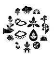 nature icons set symbols simple style vector image