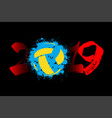 number 2019 and a volleyball ball from blots vector image vector image