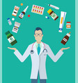 pills and bottles around pharmacist or doctor vector image