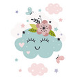 poster with beautiful cloud and flowers vector image vector image