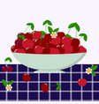 red cherry in a plate vector image vector image