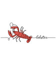 red lobster or crayfish minimalist vector image