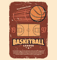retro basketball league old shabby poster vector image