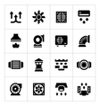 Set icons of ventilation and conditioning vector image vector image