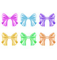 set of multicolored satin bows vector image vector image