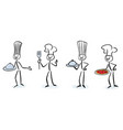 set of stick figure chefs vector image