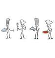 set stick figure chefs vector image vector image