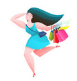 shopping woman running with shop bags vector image vector image