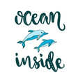 silhouette dolphins with modern lettering ocean vector image