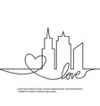 silhouette of the city and heart and love in vector image vector image