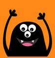 smiling monster head silhouette thtee eyes teeth vector image vector image
