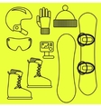 Snowboard gear line icon set vector image vector image