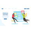 social media application profile editing concept vector image vector image