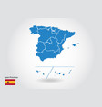 spain provinces map design with 3d style blue vector image