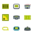 Stadium icons set flat style vector image vector image