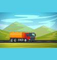 tank truck long vehicle flat design vector image vector image