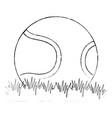 Tennis ball with grass